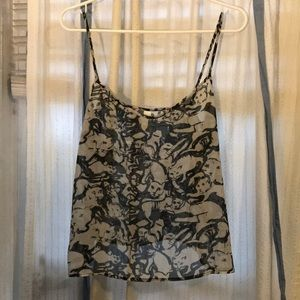 American apparel chiffon print cat black camisole